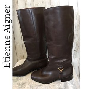 ETIENNE AIGNER Dk Brown Leather Riding Boots Sz 7M